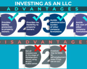 Infographic about 4 advantage and 2 disadvantages of investing as an LLC.