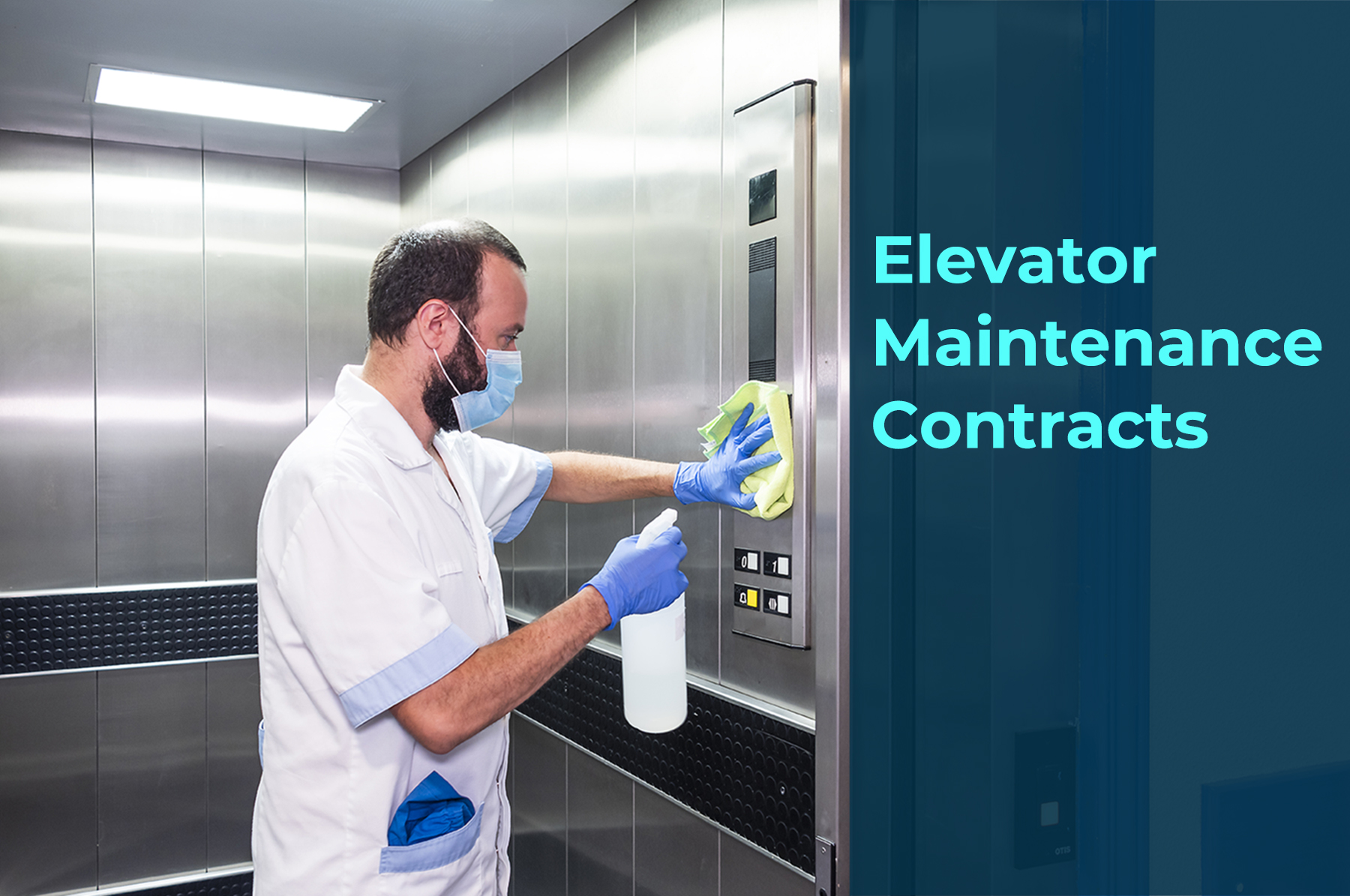 A man performing cleaning and disinfection in a elevator