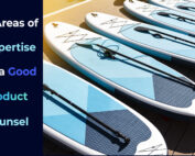 """A batch of paddle boards ready to hit the market with the phrase """"five areas of expertise of a good product counsel"""". Al in blue tones"""