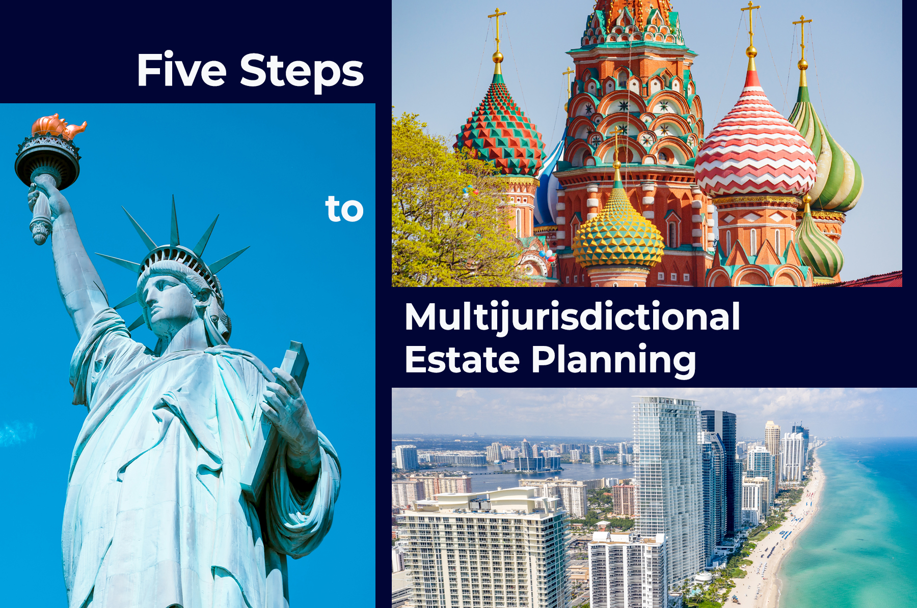 """the Statue of Liberty, the Russian colorful basilica and an aerial view of Miami's coastline with the title """"Five Steps to Multijurisdictional Estate Planning"""""""
