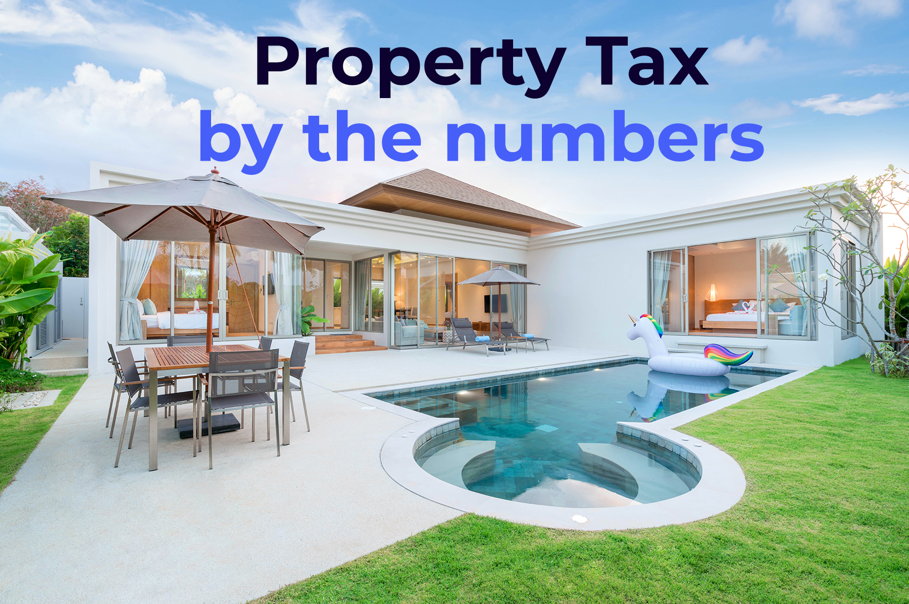 """a house with interior-exterior design pool and the phrase """"property tax by the numbers"""
